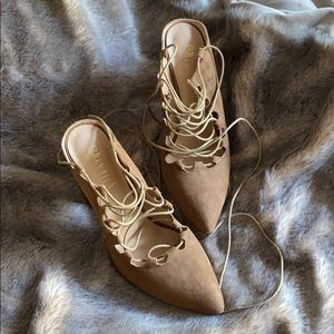 Anthropologie Lace Up Backless Heels *worn once*